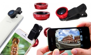 Universal Clip 3in1 Fish eye Macro Wide Angle Lens for All phones iPhone Samsung