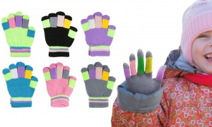 Childs Multi-Colour Striped Magic Gloves