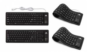 Silicon Wired/Wireless Keyboard in Black