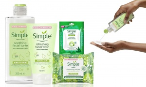 Simple Kind to Skin Soothing Facial Toner, Sheet Mask, Facial Wash Gel and Biodegradable Cleansing Wipes