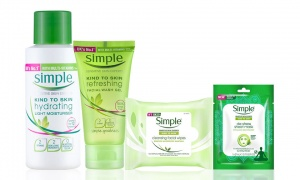 Simple Cleansing Facial Wipes, Refresh Facial Gel Wash, Hydrating Light Moisturiser and De - Stress Sheet Mask
