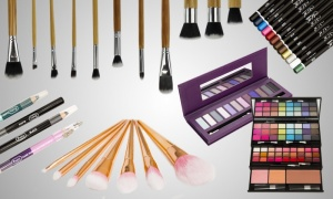 Eyeliner, eyeshadow and make up brushes