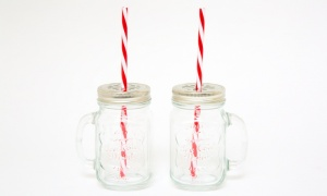Mason Jar with Lid and Straw 2 in a Pack