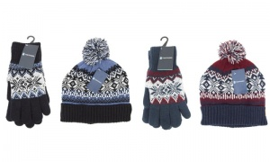 Mens Fairisle Glove and Hat Set