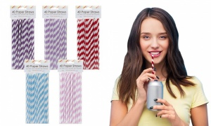 Assorted 40 Pack Paper Straws