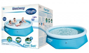 Bestway Fast Set Swimming Pool Above Ground Blue Inflatable 8ft x 26'', 2100L