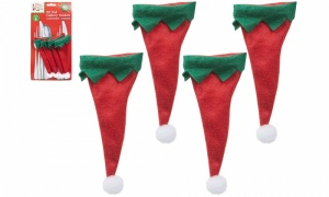 Set Of 4 Elf Hat Cutlery Holders On Backing Card