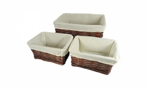 Set of 3 Baskets Brown Wicker With Beige Cloth 3999M