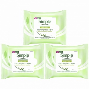 Simple Kind to Skin, Cleansing Wipes For Sensitive Skins, 3 Packs of 25 Wipes