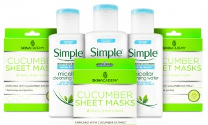 Simple Water Boost Micellar Cleansing Water with Skin Academy Cucumber Sheet Mask