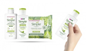 Simple Kind To Eyes Emur 125ml with Rich Moisturiser for Sens 125ml and Biodegradable wipesx20