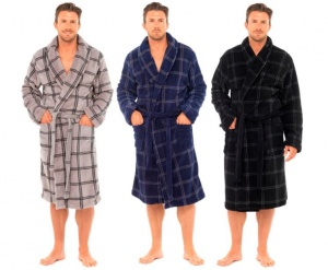 Men's Soft Fleece Check Robe
