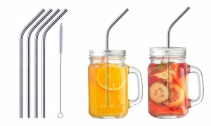 Reusable Washable NON-TOXIC Stainless Steel Drinking Straws, Set of 4(including a straw clean brush)