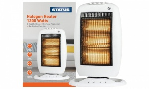 Status Oscillating Halogen Heater, 1200 Watt - White