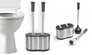 Polder Stainless-Steel Dual Bath Caddy with Toilet Brush and Plunger