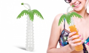 11 inch Tropical Palm Tree Drinking Cup With lid and Flexistraw