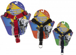 PREMIUM ADJUSTABLE NYLON DOG HARNESS - ASSORTED COLOURS AND SIZES