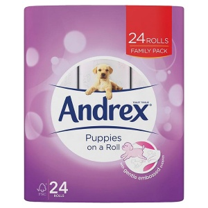 ANDREX PUPPIES ON A ROLL - 24 OR 45 ROLLS WITH AND WITHOUT ANDREX WASHLETS CLASSIC