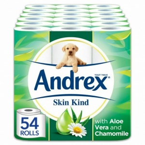 Andrex Toilet Roll Skin Kind, with Aloe Vera, 54 Rolls