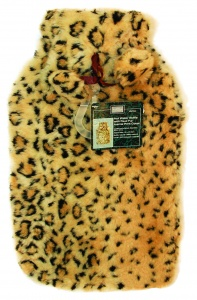Hot Water Bottle with Faux Fur Animal Print Cover