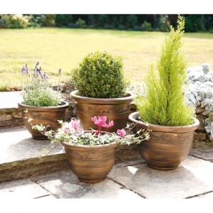 4 Pack Antique Bronze Planter
