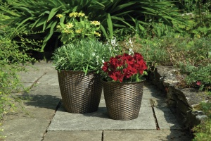 2 Pack Basket Weave Planters
