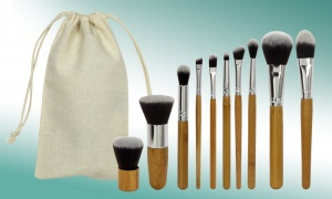 Set of 10 Make Up Brushes with Natural Bamboo Handles