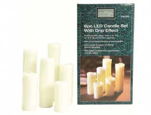 6pc LED Candle Set with Drip Set