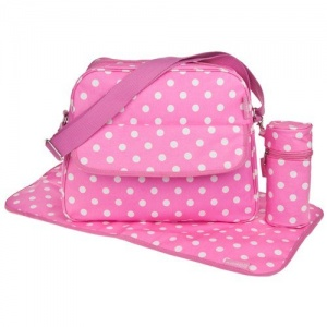 Oilcloth baby Changing Bag with Mat and Bottle Holder