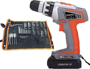 Terratek 18V Cordless Power Drill with 150 pc Accessory Kit