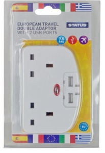 European Travel Double Adaptor with 2 USB Ports