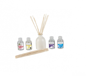 Fragrance Diffuser Holder with 4x different fragrances and a set of reed sticks, gift packed