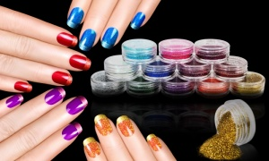 12 Colour Nail and Eyeshadow Glitter Dust Powder