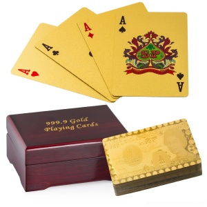 Gold Plated Flexible Playing Cards Full Poker Deck 99.9% Pure Gold Plated With Box