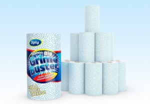12 Rolls of Three-Ply Soooo Grime Buster Kitchen Towel