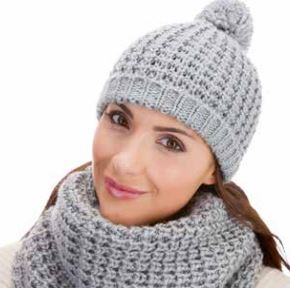 Ladies Soft Knitted Hat and Snood Set