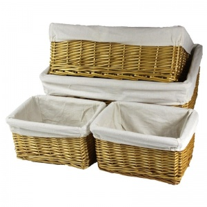 Set of 4 Stackable Wicker Baskets 3992C