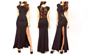 Full Length Lace Back Evening Dress