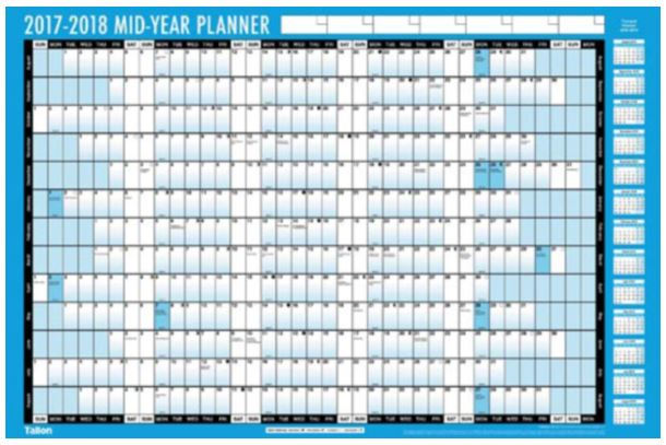 2017 2018 mid year wall planner