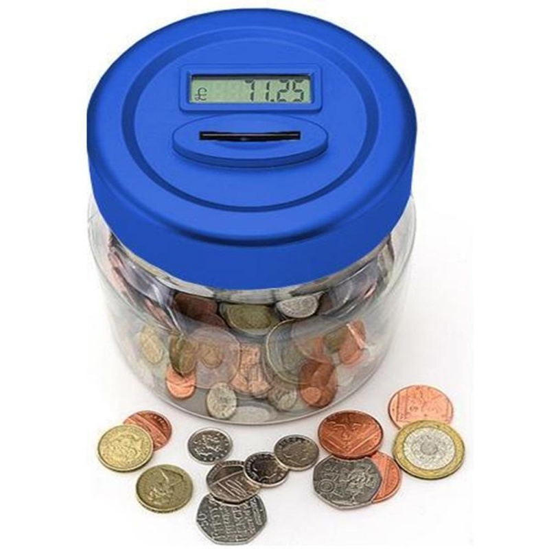 Digital Coin Counting Money Jar Blue Bb Mj100b Ebeez