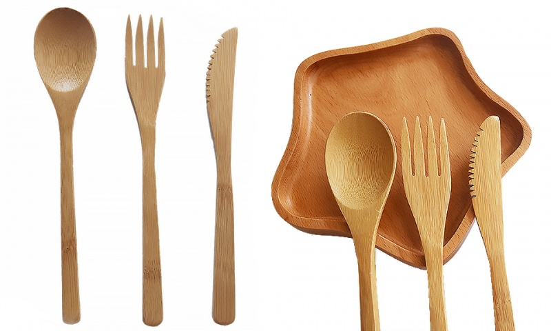 Eco Friendly Bamboo Cutlery Dinner Set Fork Knife Spoon