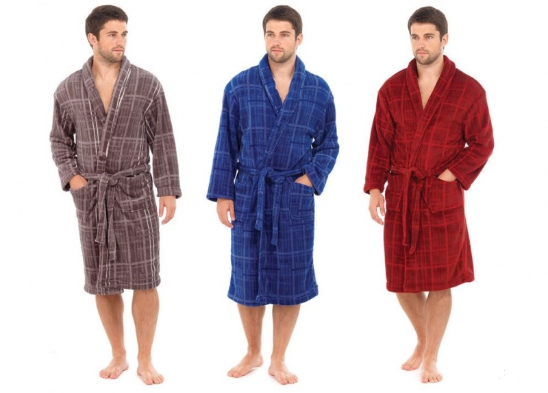 Mens Light Fleece Dressing Gowns Robes - Ebeez.co.uk