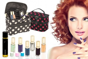 3 in 1 nail polisher+ L'oreal color rich nail polish+ polka dot make up bag