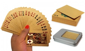 Gold Plated Playing Card in Silver Box