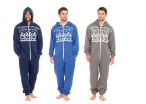 Men's Brushed Fleece Hooded Onesie