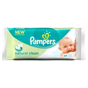 Pampers Natural Clean Wipes -12 packs of 64 wipes and 6 packs of 64 wipes