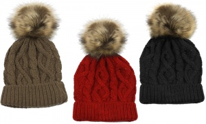 Cable Knit Hat With Fake Fur Pom Pom (100% Acrylic) - Assorted Colours