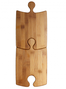Set of 2 Bamboo Puzzle Platers