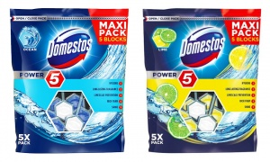 Domestos Power 5 Block Toilet Rim Cleaner Pouch 55g pack of 2