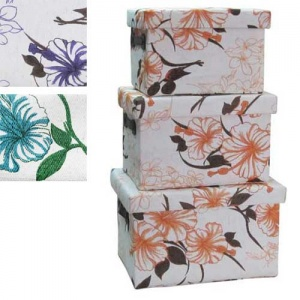 Set of Three Floral Storage Boxes